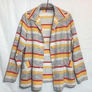 Polyester Striped Oversized Jacket